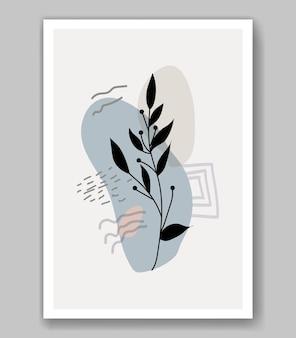 Fleur de boho abstraite laisse l'art de la silhouette