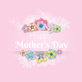 Fleur avec bonne fête des mères avec ligne de belle feuille