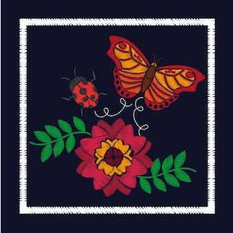 Fleur de broderie et ornement de coccinelle de papillon