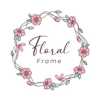 Fleur de cadre floral ligne mignonne avec une belle couleur