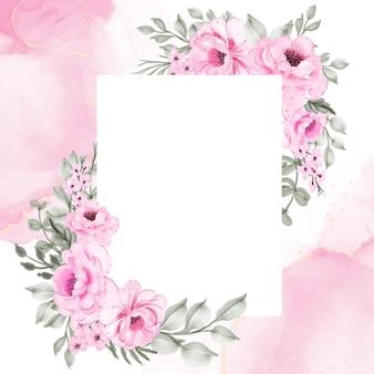 Fleur cadre rose illustration aquarelle