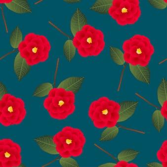 Fleur de camélia rouge sur fond bleu indigo