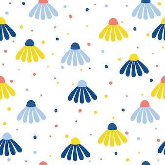 Fleur de camomille abstraite sans soudure de fond. couverture de papier peint enfantine pour carte de design, papier peint, album, album, papier d'emballage de vacances, tissu textile, impression de sac, t-shirt, etc.