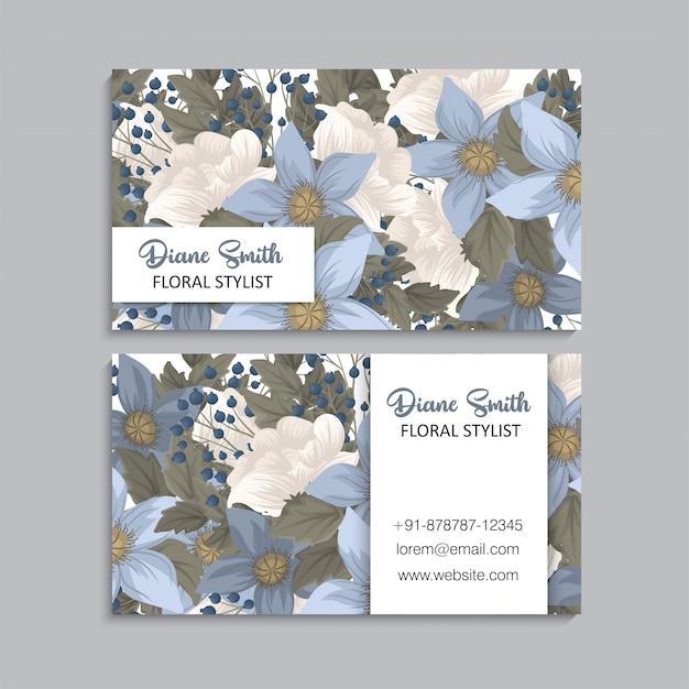 Fleur cartes de visite bleu floral