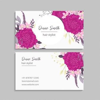 Fleur cartes de visite fleurs roses chaudes