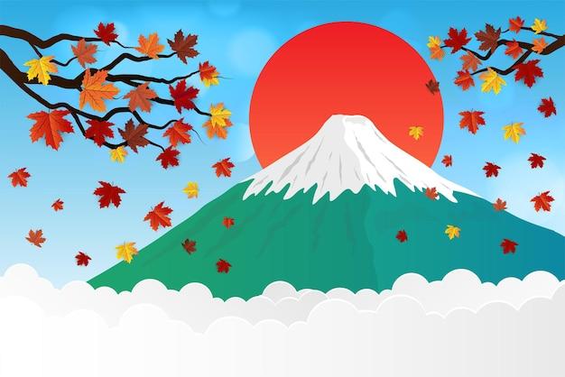 Fleur De Cerisier Et Montagne Fuji Vecteur Premium