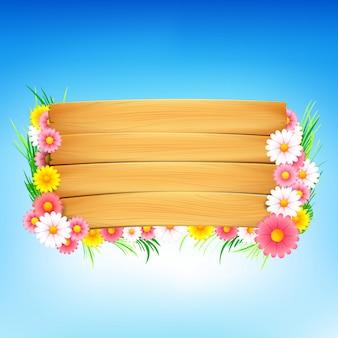 Fleur colorée et fond de printemps en bois 001