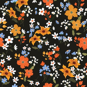 Fleur colorée sur modèle sans couture de fond noir.