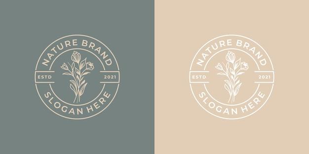 Fleur de conception de logo de luxe vintage minimaliste
