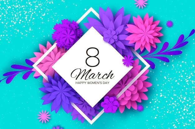 Fleur coupée en papier rose ultra violet. 8 mars. carte de voeux de jour de femmes. bouquet de fleurs en origami. cadre de losange. texte.