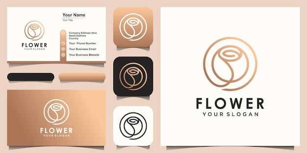 Fleur créative abstraite rose beauté avec logo cercle