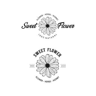 Fleur douce ligne art vintage logo design premium modèle stock