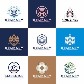 Fleur, eau, plante, collection de création de logo d'entreprise.