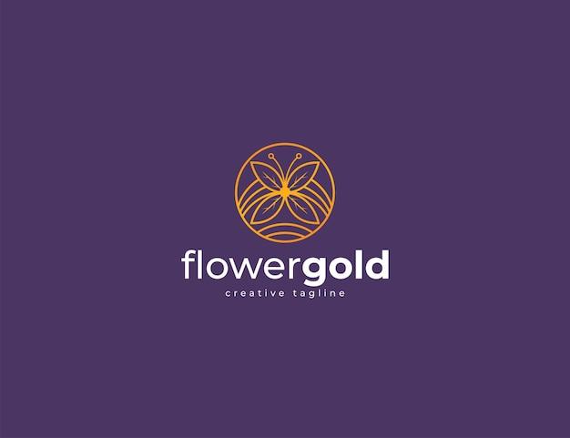 Fleur élégante abstraite avec cercle d'or et modèle de conception de logo de lettrage flower gold