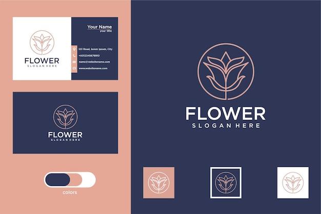 Fleur élégante avec création de logo de style de ligne et carte de visite