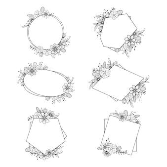 Fleur élégante fleuriste mariage cadre carte ornement ensemble