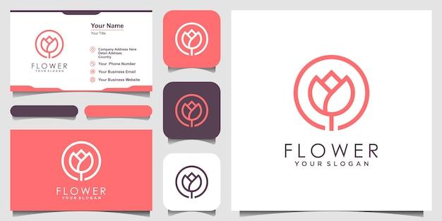 Fleur élégante minimaliste rose beauté avec style d'art en ligne. logo utilise l'inspiration du logo des cosmétiques, du yoga et du spa. ensemble de conception de logo et de carte de visite