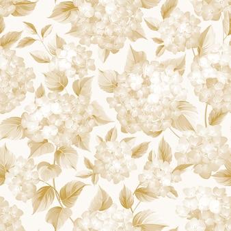 Fleur épanouie d'hortensia doré sur fond blanc.
