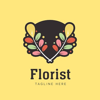 Fleur feuille feuilles fleuriste couronne laurier logo icône symbole pour magasin de fleurs dans un style coloré