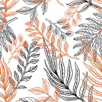Fleur feuilles ligne main dessiner design vintage
