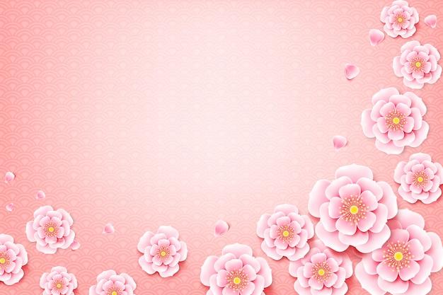Fleur de fleur de prunier chinois avec fond d'art chinois