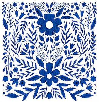 Fleur folklorique ethnique de couleur vive en blanc. composition spéculaire de symétrie. ornement traditionnel.