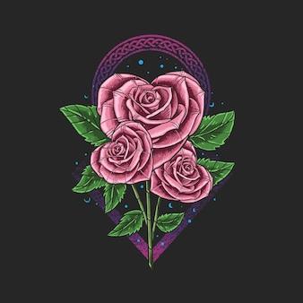 Fleur en forme de coeur isolé sur fond noir