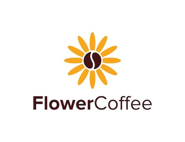 Fleur et grain de café simple création de logo géométrique créatif élégant