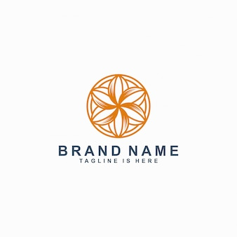 Fleur icône ligne art logo modèle vector illustration