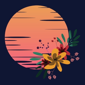Fleur en illustration vectorielle lune