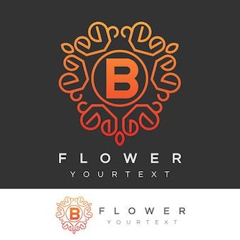 Fleur initiale lettre b logo design