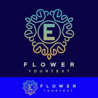 Fleur initiale lettre e logo design