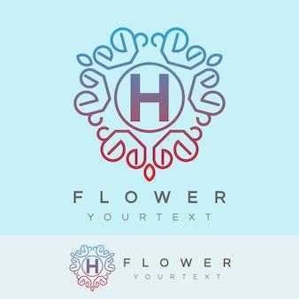 Fleur initiale lettre h création de logo