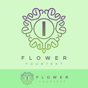 Fleur initiale lettre i logo design
