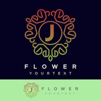 Fleur initiale lettre j logo design