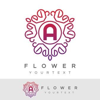 Fleur initiale lettre a logo design