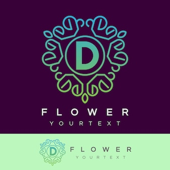 Fleur initiale lettre d logo design