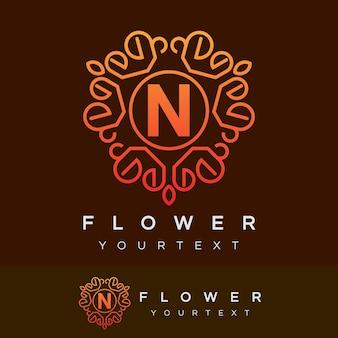 Fleur initiale lettre n logo design