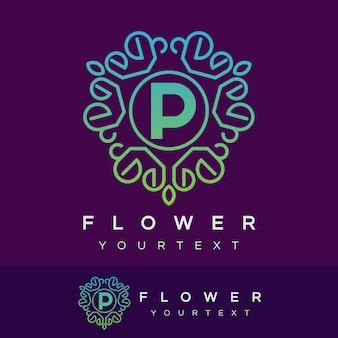 Fleur initiale lettre p logo design