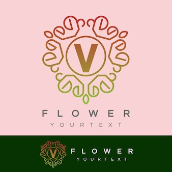Fleur initiale lettre v logo design