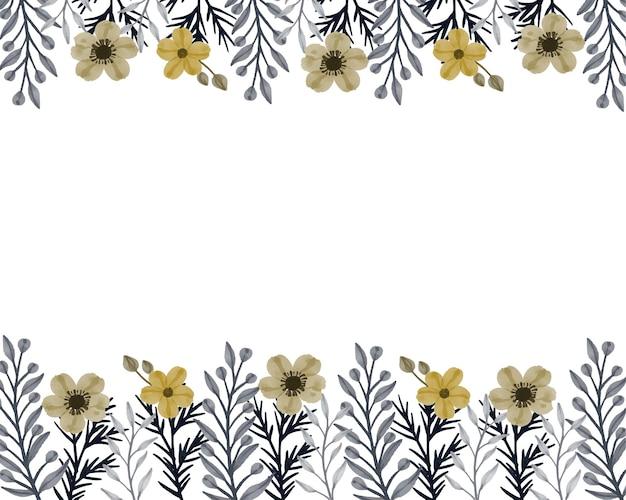 Fleur Jaune Et Feuilles Grises Aquarelle Floral Vecteur Premium