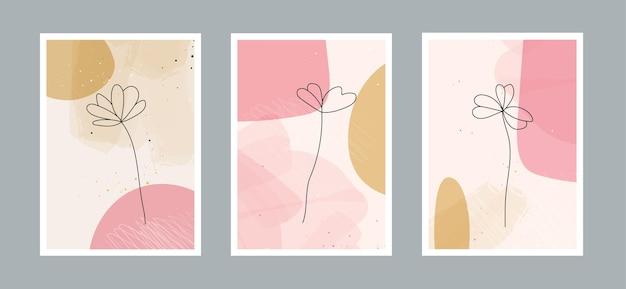 Fleur de ligne abstraite moderne en lignes et arrière-plan artistique avec différentes formes pour la décoration murale
