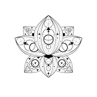 Fleur de lotus avec illustration linéaire vectorielle ornement géométrique. symbole de contour sacré indien