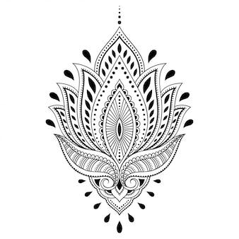 Fleur de lotus mehndi. décoration de style oriental et indien. ornement de doodle. illustration de dessin de main de contour