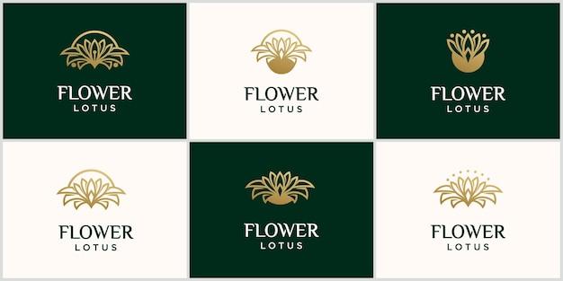 Fleur de luxe lotus logo modèle ligne d'or lotus logo lotus logo vector art design avec couleur or