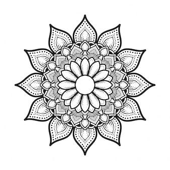 Fleur de mandala noir et blanc