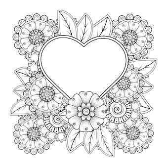 Fleur de mehndi avec cadre en forme de coeur pour la décoration de tatouage au henné mehndi