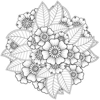 Fleur de mehndi dans un style oriental ethnique. ornement de griffonnage. contour main dessiner illustration. page de livre de coloriage.