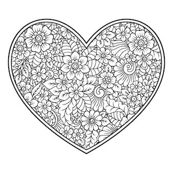Fleur mehndi en forme de coeur