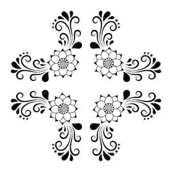 Fleur de mehndi. ornement de doodle.